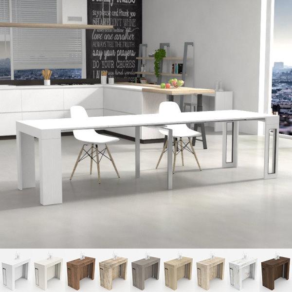 Consolle bianca trasformabile in tavolo Mercurio