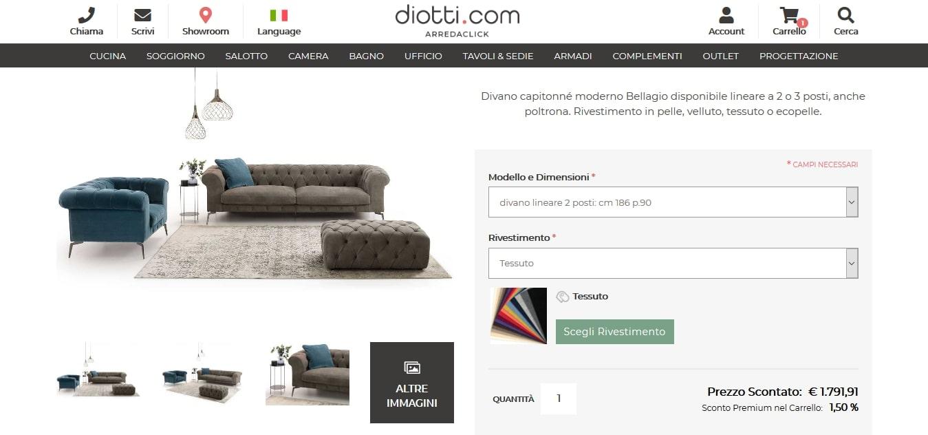 diotti. com scheda prodotto per personalizzazione
