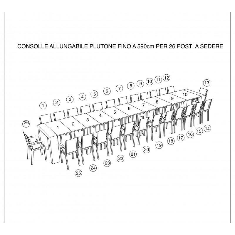 Schema tecnico della consolle allungabile per 26 posti