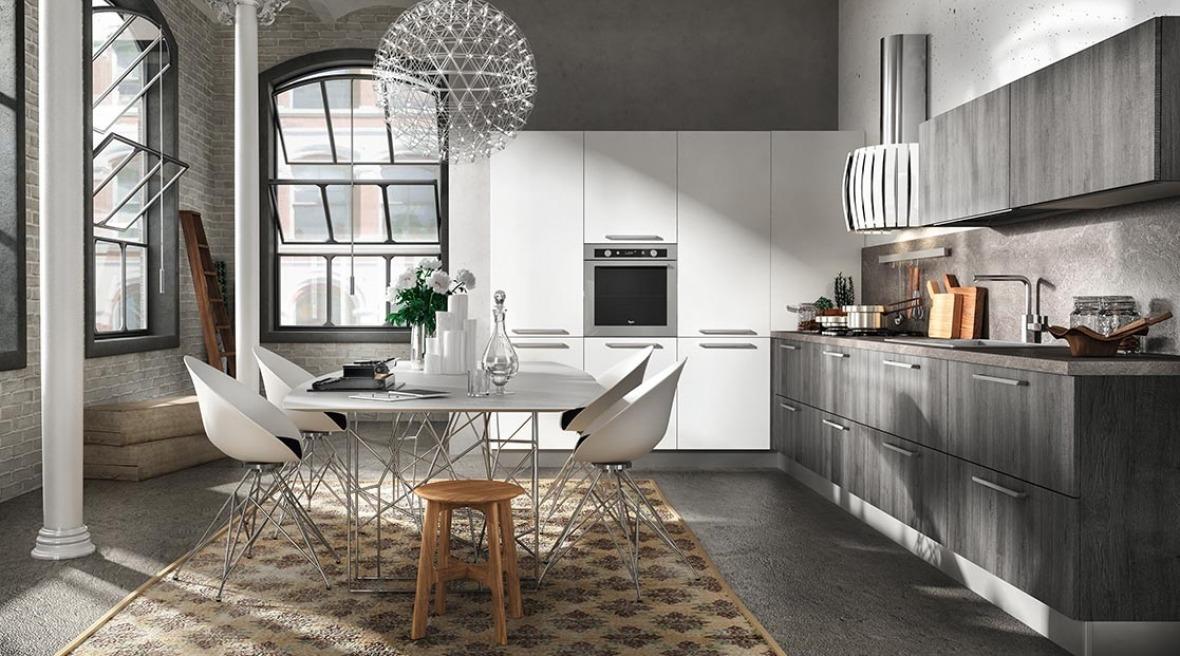 Cucine moderne bianche e legno