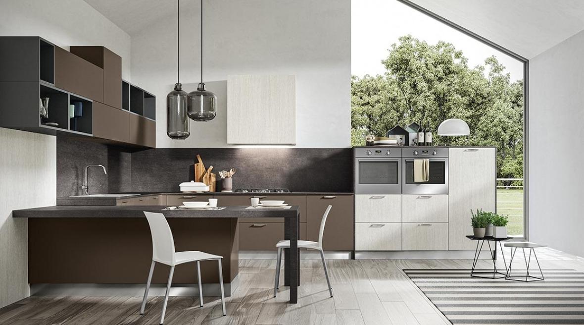 Cucine moderne nere e legno