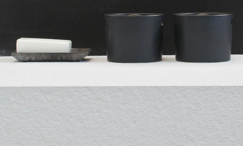Dettaglio del piano in Tekorstone bianco