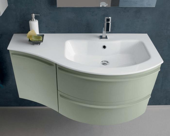 Mobile bagno curvo con piano e lavabo in mineralguss