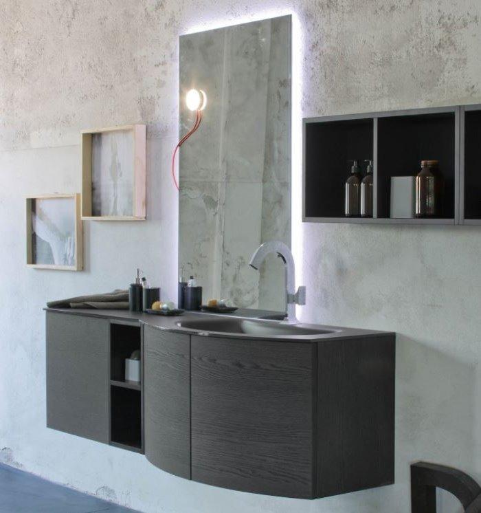 Mobile bagno con lavabo e top in vetro satinato nero